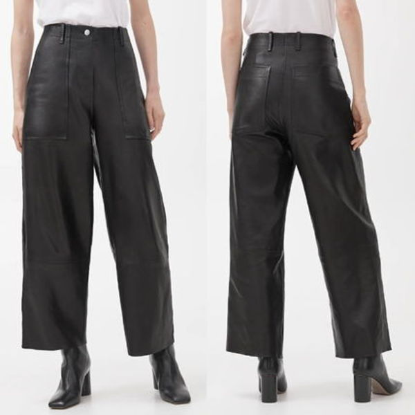 """ARKET""  Cropped Leather Trousers Black"