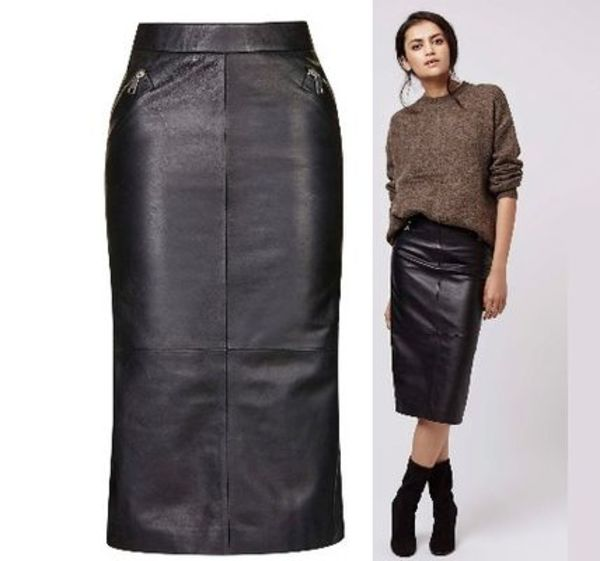 秋冬最新作★Leather Zip Pencil Skirt