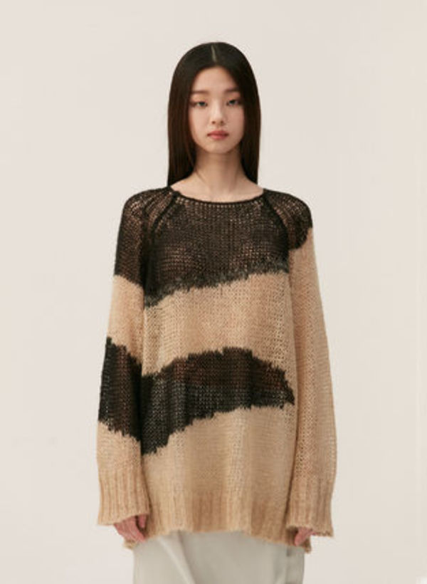 [TheOpen Product]ABSTRACT PRINT KNIT TOP, BEIGE☆日本未入荷