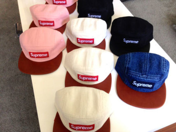 即完売!LA店購入 Supreme Denim Leather Camp Cap