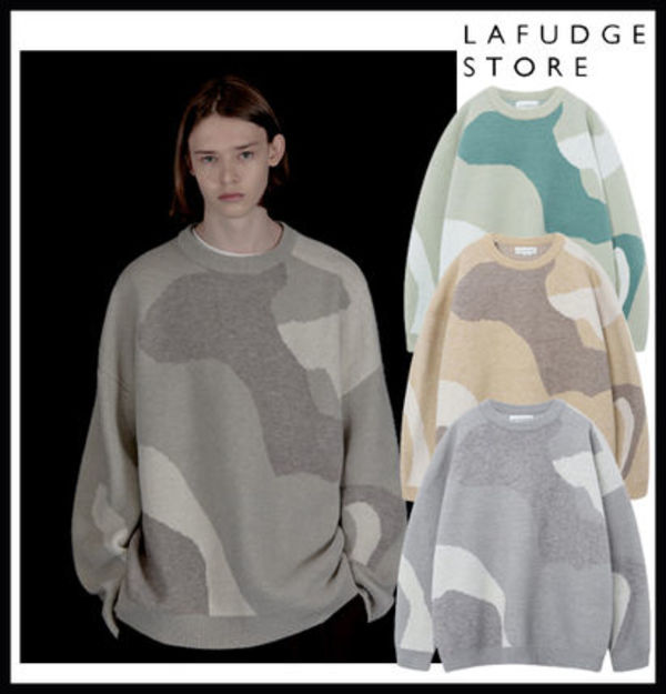 【LAFUDGE STORE】Wool Over Crew Neck Knit