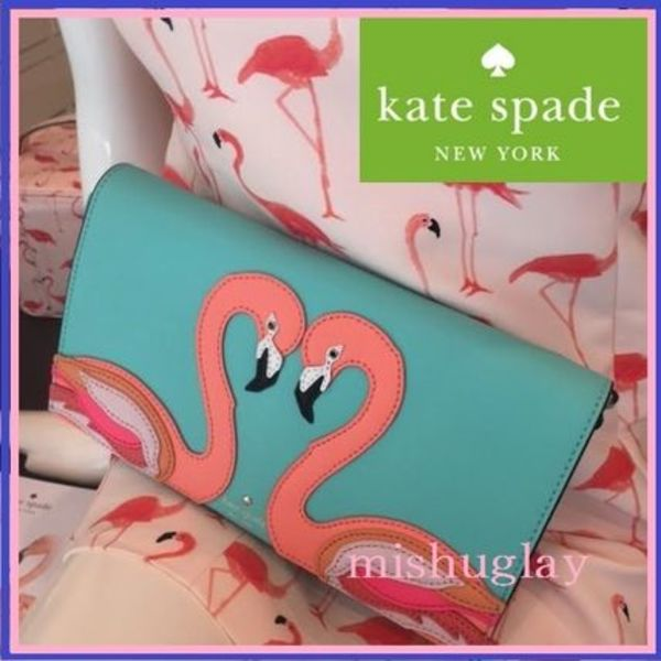 kate spade★FLAMINGO APPLIQUE CALI★クラッチにも