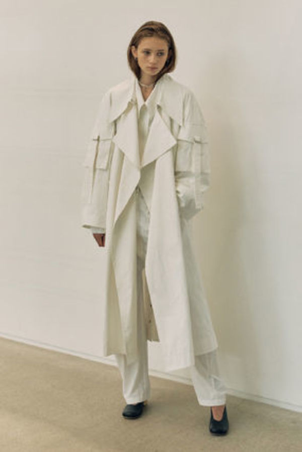 LOW CLASSIC SLEEVE POCKET TRENCH COAT (WHITE)★韓国ブランド