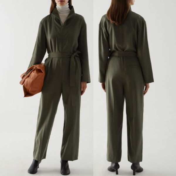 """""""COS"""" STRAIGHT BELTED JUMPSUIT GREEN"""