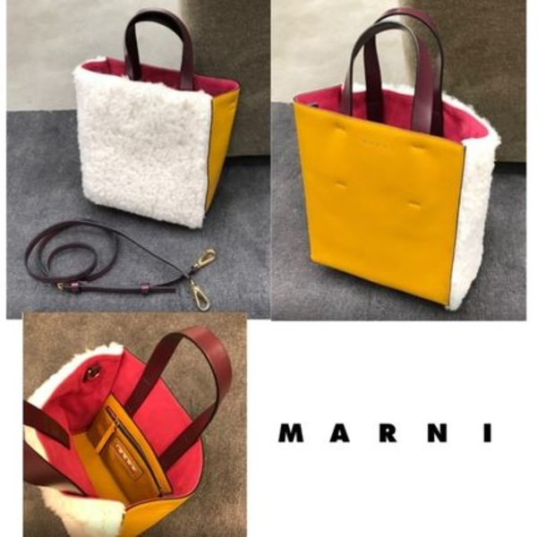 マルニ直営店◆MUSEO SOFT BAG SHEARLING WHITE YELLOW BURGUNDY