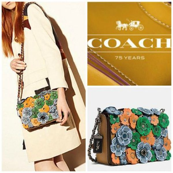 コーチ75周年限定200 TEA rose applique dinky crossbody 24