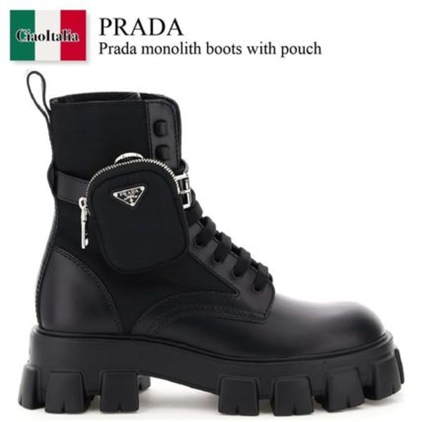 Prada monolith boots with pouch