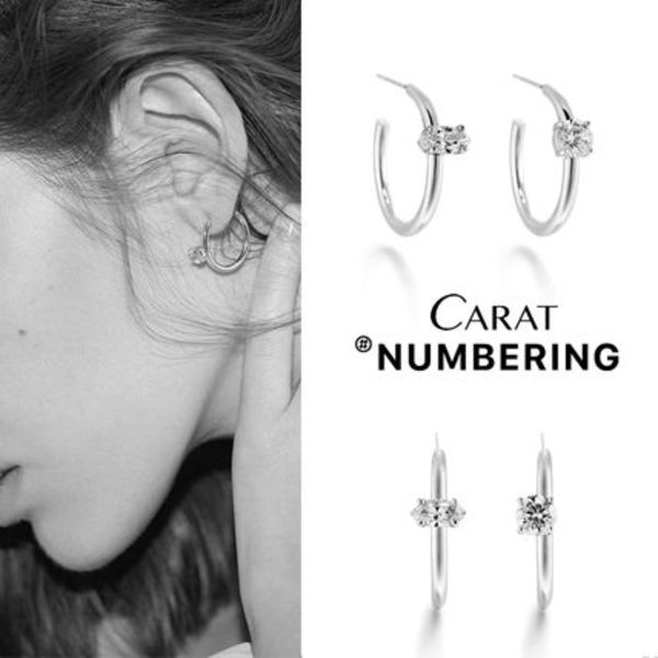 【NUMBERING】Unbalanced Prong Hoops★#3100ピアス/追跡付