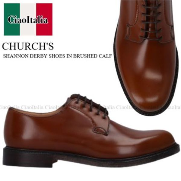 CHURCH'S SHANNON DERBY SHOES IN BRUSHED CALF