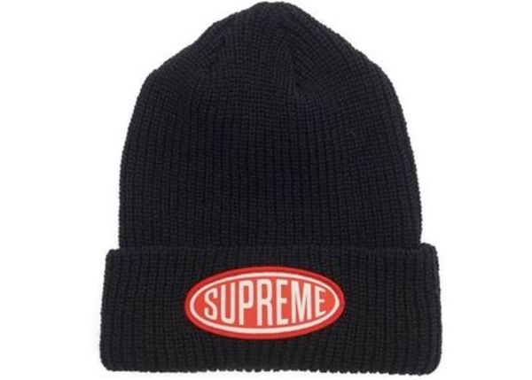 18AW /Supreme Oval Patch Beanie オーバル パッチ ニット帽 黒