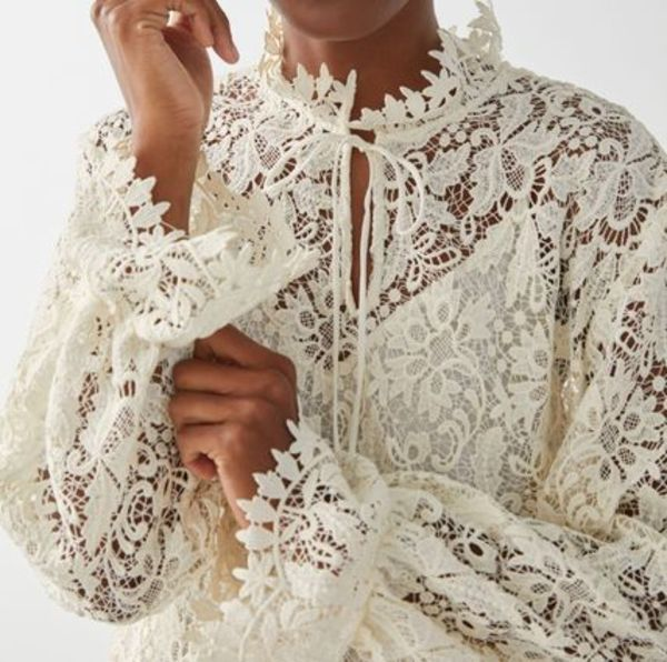 """""""& Other Stories"""" Relaxed Scalloped Ruffle Lace Blouse"""