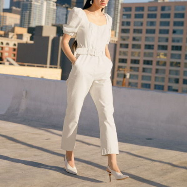 """""""& Other Stories"""" Belted Puff Sleeve Jumpsuit White"""