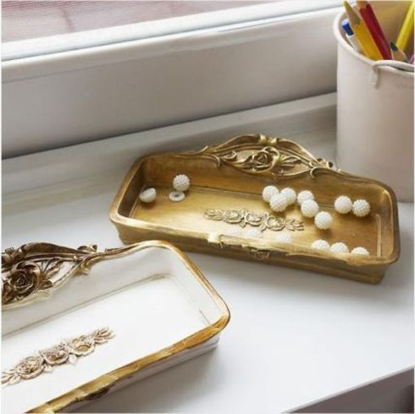 【byyoon】Square gold white vintage tray