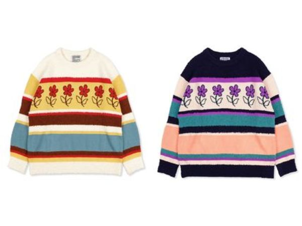 ★YOUTHBATH_FLOWER STRIPE KNIT WEAR★