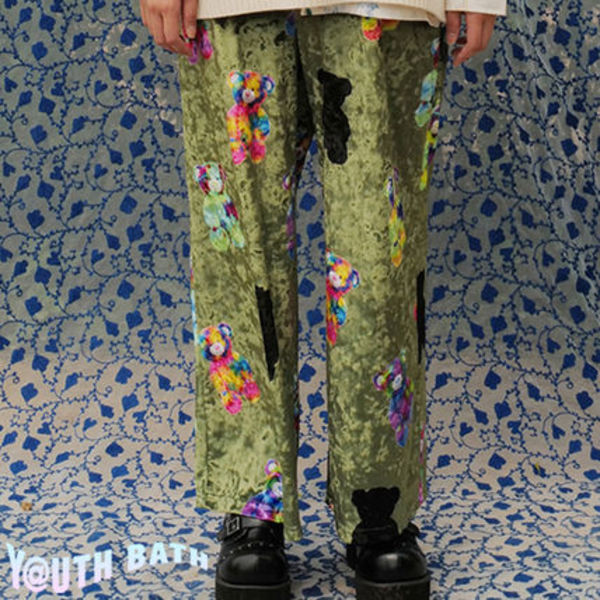 ★YOUTHBATH★VELOUR GRAPHIC PANTS_KHAKI★正規品/韓国直送料込