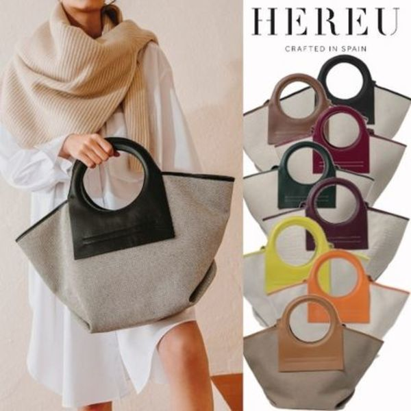 【HEREU】Leather-trimmed canvas tote