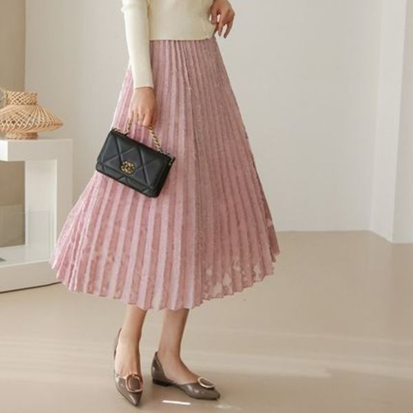 ★THE COCO★韓国人気★Feather Flitz Banding Skirt PINK