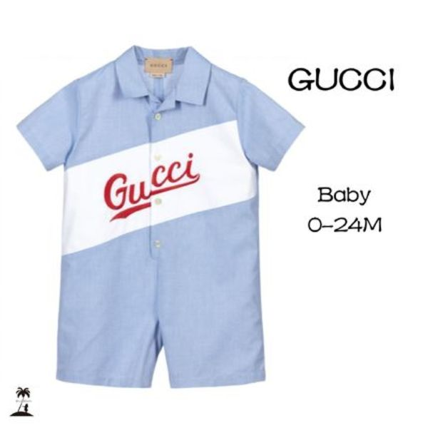 ★GUCCI★Baby Boys ロゴショーティー/Blue & White 0-24M