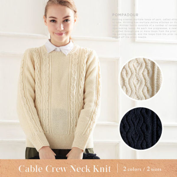 【NEW】【Pompadour-ポンパドール-】Cable Crew Neck Knit