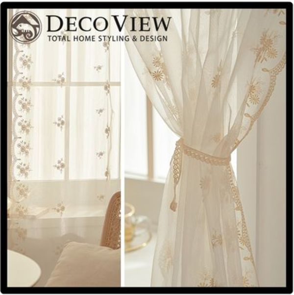 ★DECO VIEW★Beige side scalloped lace long window curtain★