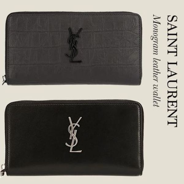 Saint Laurent LARGE YSL ZIPPERED MONOGRAM WALLET IN LEATHER