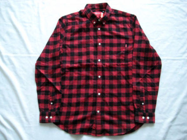 即発送!15A/W Supreme Small Buffalo Flannel Shirt赤