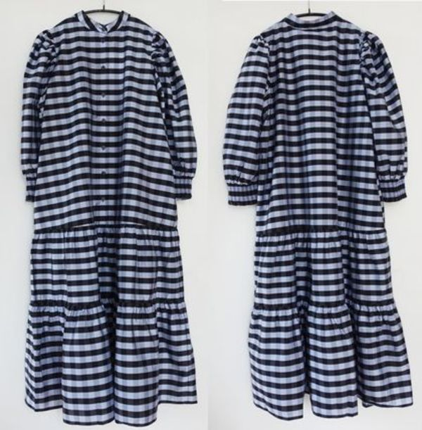 """""""& Other Stories"""" Wide Tiered Puff Sleeve Midi Dress Blue"""
