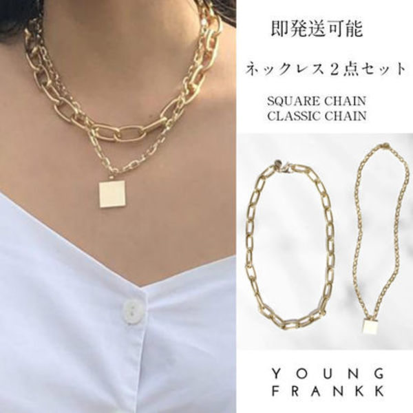 YOUNG FRANKK ネックレス2点セットCHAIN&SQUARE