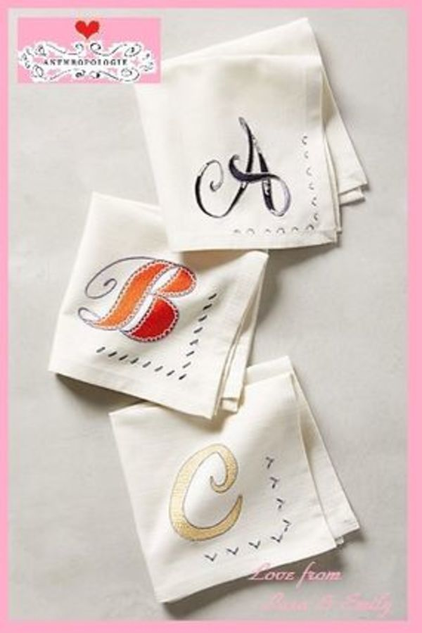 最安値保証&送料込!【Anthro】Monogram Cocktail Napkin