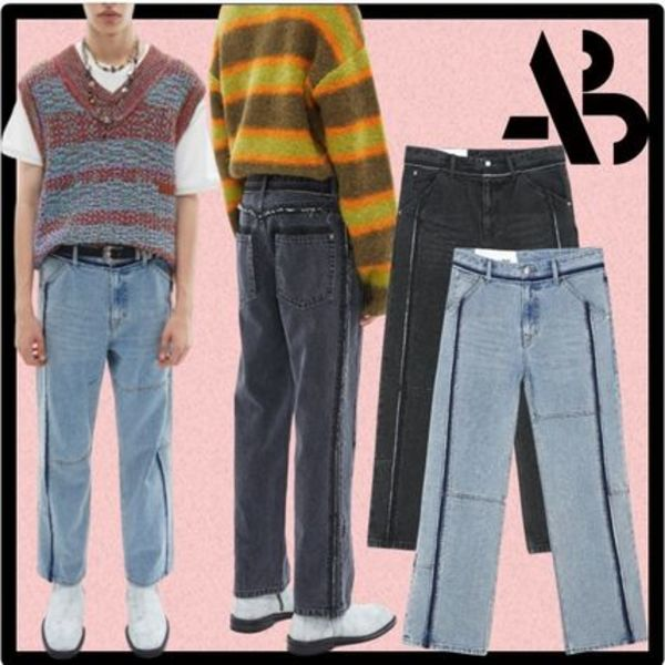 ★ANDERSSONBELL★RE-MADE PANNEL STRAIGHT-LEG CROP JEANS★