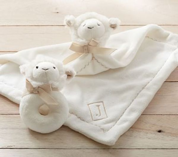 【Pottery Barn】Lamb Plush Thumbie  Rattle イニシャル入り♪