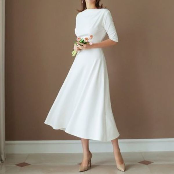 ★THE COCO★韓国人気★ Draping Flare One Piece WHITE