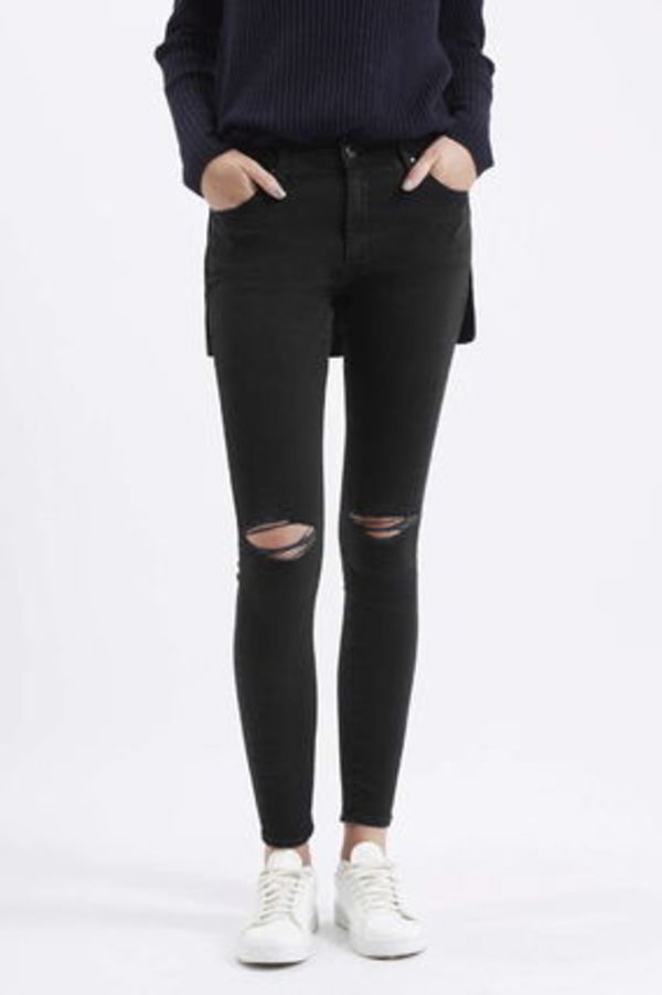 《ダメージスキニー♪》☆TOPSHOP☆Washed Black Rip Leigh Jean