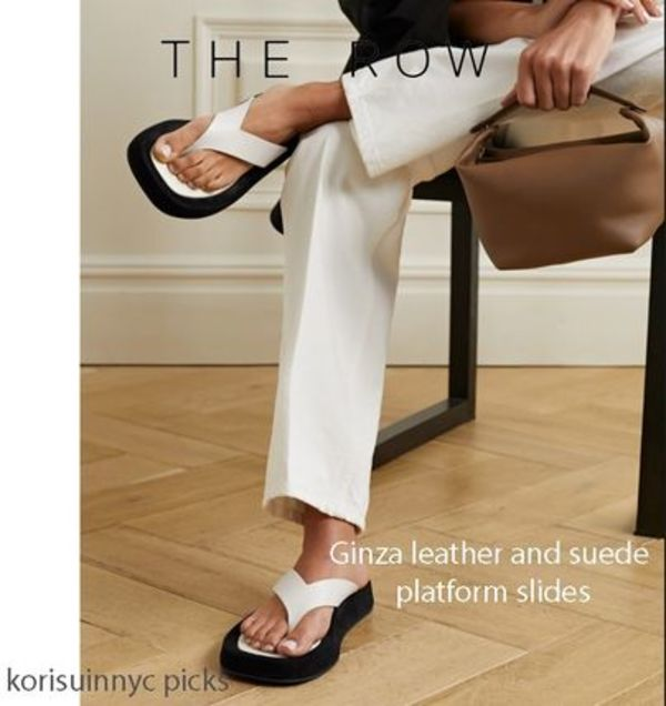 COOLな*The ROW*Ginza leather and suede platform slides W