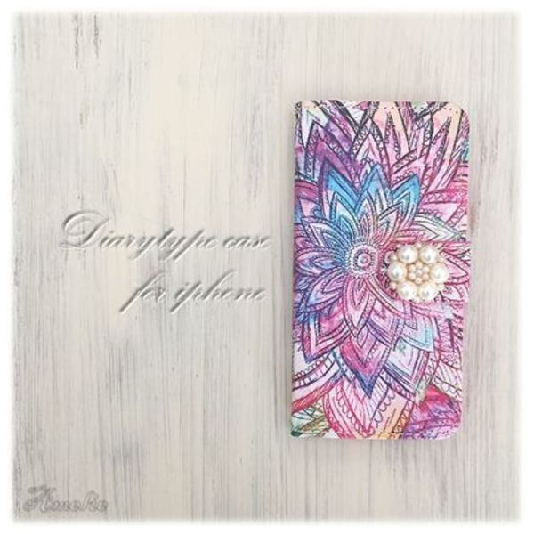 【手帳型】Colorful floral iPhoneケース
