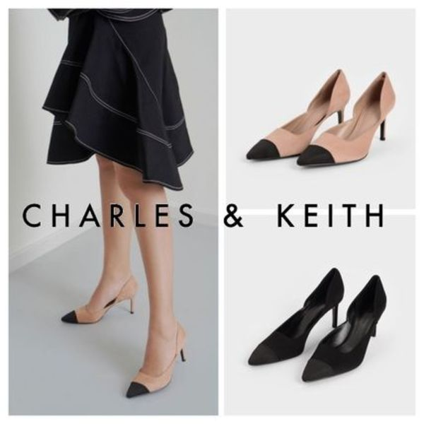 Charles&Keith★Textured D'Orsay Stiletto Pumps/size22-26cm