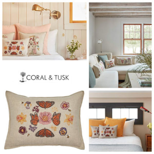 【coral&tusk】ファブリック クッション Butterflies and blooms