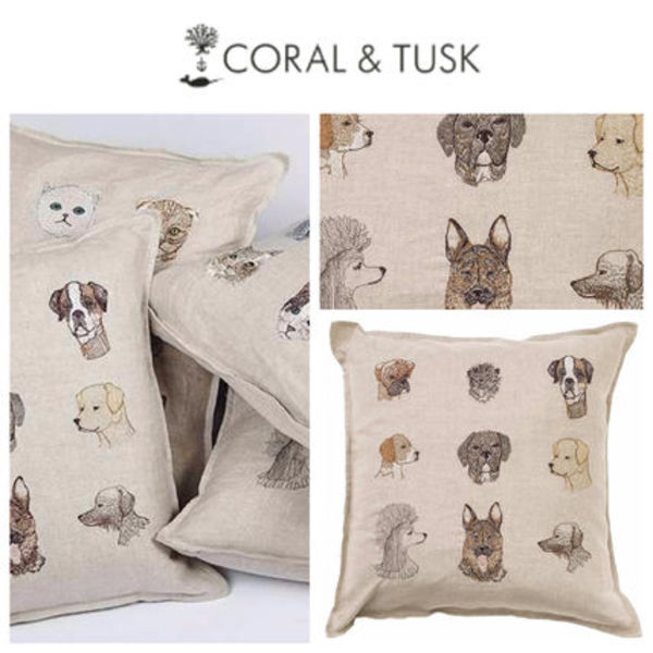 【coral&tusk】ファブリッククッション Dogs pillow