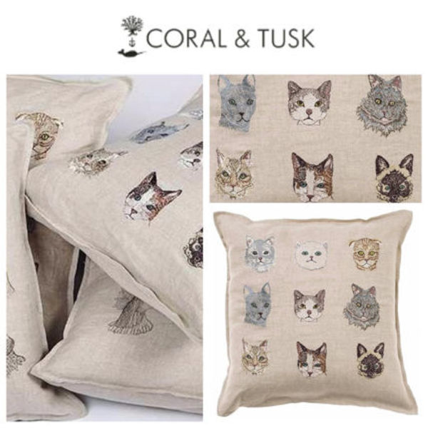 【coral&tusk】ファブリッククッション Cats pillow