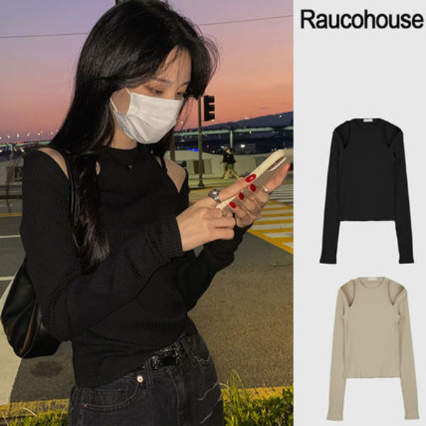 Raucohouse ラウコハウス SHOULDER POINT RIBBED SLIM TOP