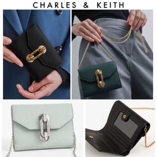 【Charles&Keith】チェーン付き 折り畳みウォレット 送料込