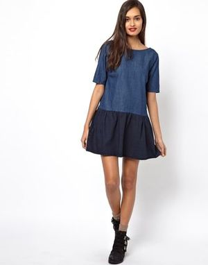 ASOS Color Block Denim Low Back Smock Dress