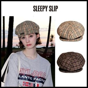 ☆SLEEPY SLIP☆  [unisex]CLASSIC CHECK BROWN NEWSBOY CAP 2色