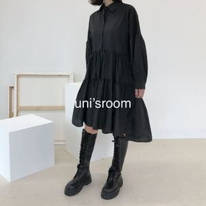 uni's room■2color アシンメトリーシャツワンピース OP-AW20-06
