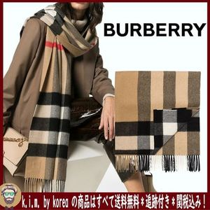 <BURBERRY>CHECK CASHMERE SCARF/ARCHIVE BEIGE