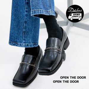 OPEN THE DOOR cow hide square toe chain loafer OH193 追跡付