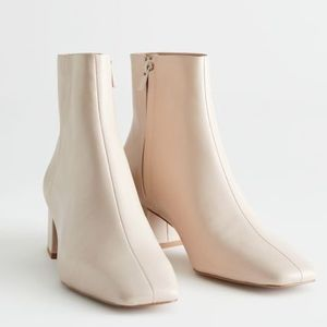 """""""& Other Stories"""" Leather Heeled Ankle Boots Beige"""