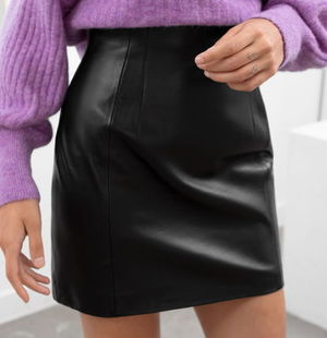 """""""& Other Stories"""" High Waisted Leather Skirt Black"""
