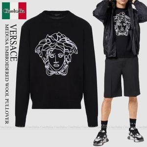 VERSACE MEDUSA EMBROIDERED WOOL PULLOVER