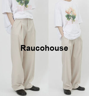 Raucohouse SINGLE PIN-TUCK WIDE SLACKS